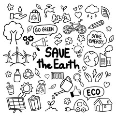 Save the Earth hand drawn doodles concept