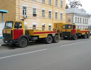 red-yellow emergency truck