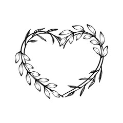 Heart decorative floral frame with leaves