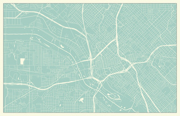 Dallas USA Map in Retro Style