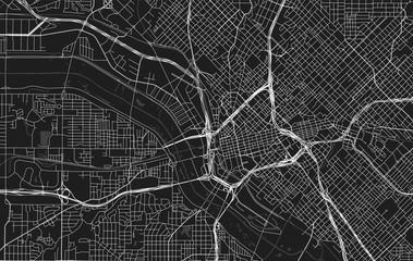 Vector black map of Dallas