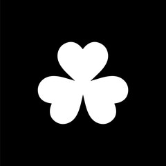 Flat monochrome clover leaf symbol for web sites and apps. Minimal simple black and white clover leaf symbol. Isolated vector white clover leaf symbol on black background.