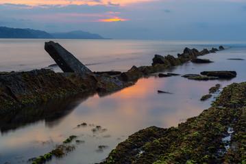 Sakoneta beach at low tide, Basque Country, Spain