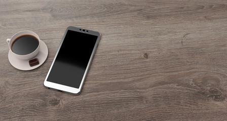 Smartphone et café sur une table en bois