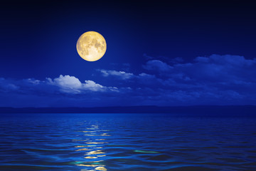wide ocean waves horizon moon night background