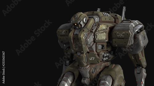 Fighting Sci Fi Mech Soldier Military Futuristic Robot With A Green