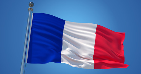 France flag in the wind against clear blue sky, 3d illustration