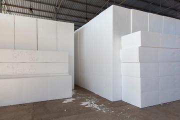 large blocks of Styrofoam in a warehouse
