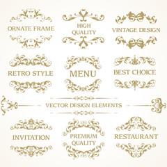 Vector set of vintage elegant decorative ornamental page decoration frames borders calligraphic design elements for invitation,