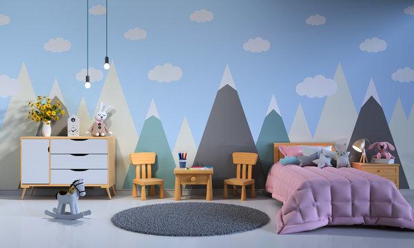Child bedroom interior at night, 3D rendering