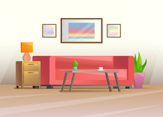 Interior in a flat style. Furniture for living room. Vector