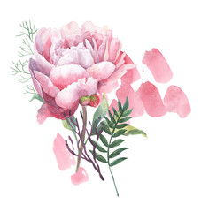 watercolor composition with retro flowers