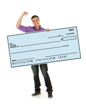 Man Cheering And Holding Up Giant Blank Check