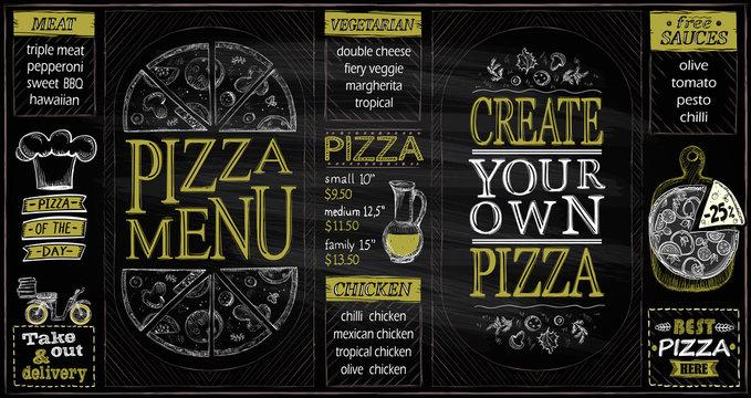 Pizza menu list chalkboard set