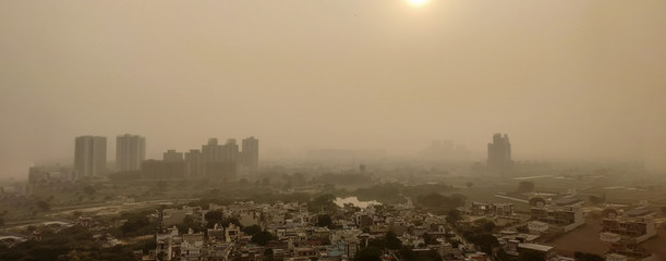 Severe Delhi Air Pollution as seen from a tall building day after Diwali Papier Peint