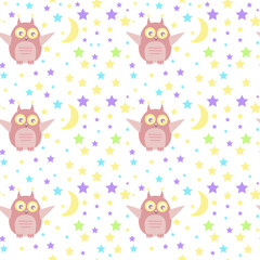 Vector seamless pattern with cute owl, moon and stars. Can be used for baby shop, store, market, kids centre, kindergarten. Background for banner, decoration, wallpaper. EPS10