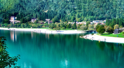 Lake Molveno, a wonderful lake, in western Trentino Alto Adige, Italy, at the foot of the Brenta Dolomites.