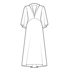 Ladies Bell Sleeve Dress Vector Template