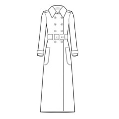 Ladies Trench Jacket Vector Template