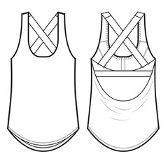 Ladies Workout Tank Vector Template