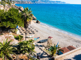 Looking down from the Balcon de Europa Viewpoint in Nerja on the estaern Costa Del Sol Spain