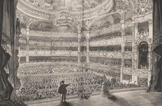 The great opera in Paris. Opening performance. - Illustration,  France, Paris - France, 1870-1879, 19th Century, 19th Century Style