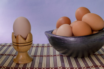 eggs in clay bowl