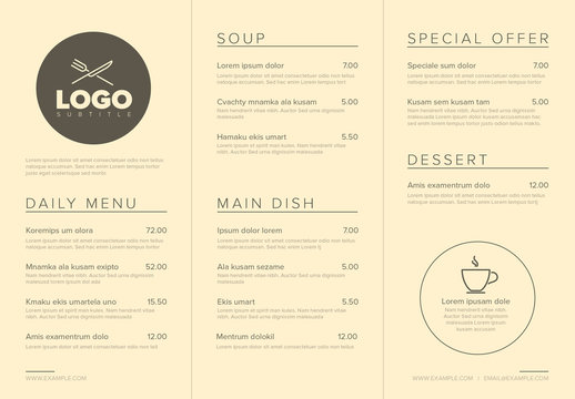Pale Yellow Restaurant Menu Layout with Line Art Illustrations