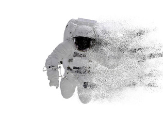 Space Astronaut particle disintegration isolated on white background. Space disaster concept. Elements of this image were furnished by NASA