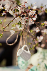 blossom branches in blue vase
