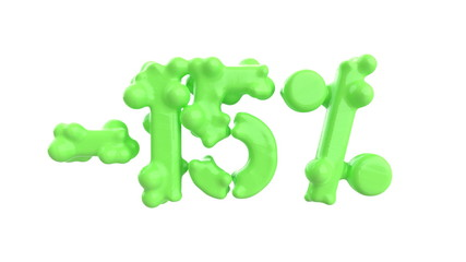 The sign -15off. Made of trendy fresh green matte metal material isolate on white background. 3d illustration
