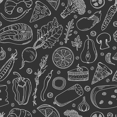 Food seamless pattern. Hand drawn food: vegetables, fish, meat products, spices and dessert on black background.