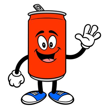 Soda Can Mascot Waving - A vector cartoon illustration of a Soda can mascot waving.