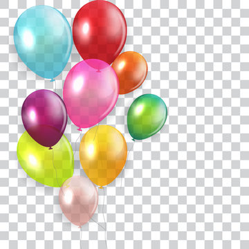 Glossy Happy Birthday Concept with Balloons isolated on transparent background. Vector Illustration