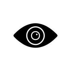 Flat monochrome eye silhouette for web sites and apps. Minimal simple black and white eye silhouette. Isolated vector black eye silhouette on white background.