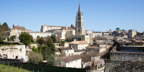 Saint Emilion, Gironde-Aquitaine / France - 03 05 2019 : landscape view of Saint Emilion village in Bordeaux region