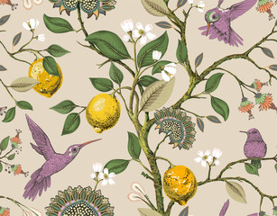Foto op Aluminium Botanisch Floral vector seamless pattern. Botanical wallpaper. Plants, birds flowers backdrop. Drawn nature vintage wallpaper. Lemons, flowers, hummingbirds, blooming garden. Design for fabric, textile, paper