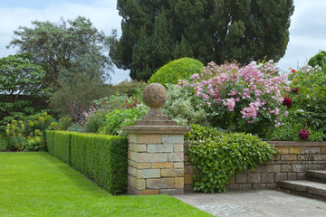 Landscaped garden with pink roses, flowers in bloom, shrubs and trees by trimmed hedge and stone steps .