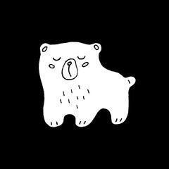 Cute cartoon hand drawn bear drawing. Sweet vector black and white bear drawing. Isolated monochrome doodle bear drawing on black background.