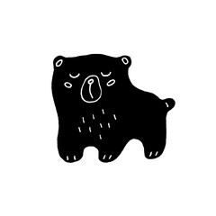 Cute cartoon hand drawn bear illustration. Sweet vector black and white bear illustration. Isolated monochrome doodle bear illustration on white background.