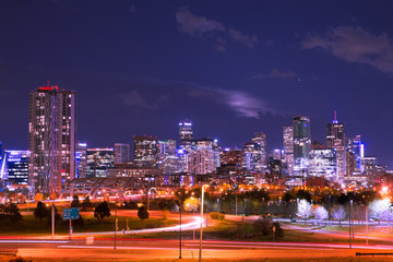 Wall Mural - Night scene of the Denver Colorado skyline