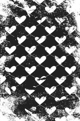 Grunge pattern with icons of related hearts. Vertical black and white backdrop.