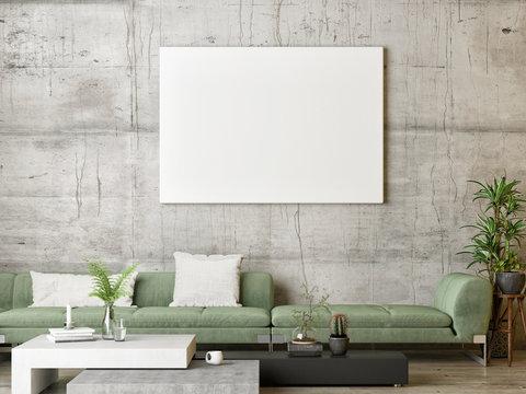 Mock up poster, green Scandinavian living room, 3d render, 3d illustration