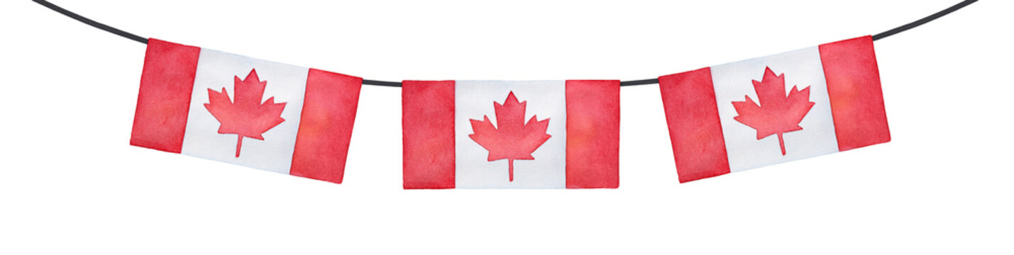 Horizontal bunting decoration with flag of Canada. Bright red colour, rectangular shape. Handdrawn watercolour drawing on white, cut out clip art element for design, frames, prints, patriotic decor.