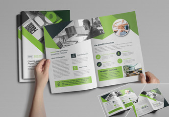 Bifold Brochure Layout with Green Accents
