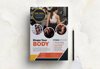 Fitness Flyer Layout with Rounded Photo Placeholders