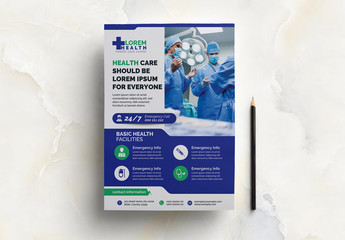 Medical Flyer Layout with Green and Blue Accents