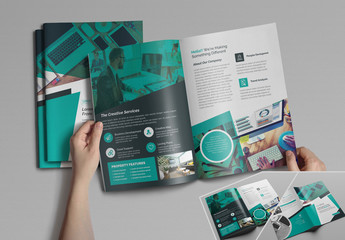 Bifold Brochure Layout with Teal Accents