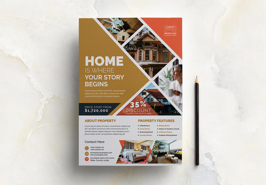 Real Estate Flyer Layout with Orange Accents