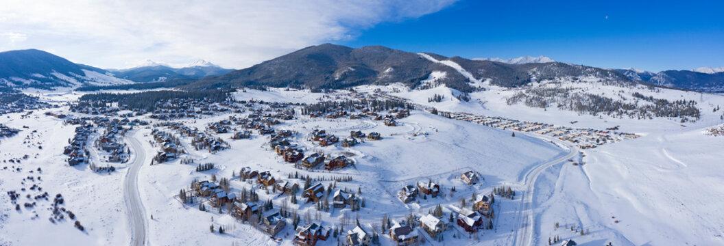 Keystone Colorado Winter Snowy Town Aerial Above Housing Developments